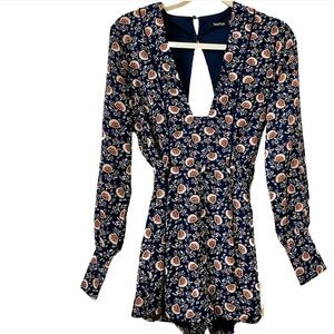 Boohoo Blue Floral Long Sleeve Romper Size 6